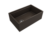 "BOCCHI Contempo 30"" Fireclay Farmhouse Apron Single Bowl Kitchen Sink, Matte Brown, 1344-025-0120 