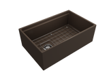 "BOCCHI Contempo 30"" Fireclay Farmhouse Apron Single Bowl Kitchen Sink, Matte Brown, 1344-025-0120 with Grid Angled View 