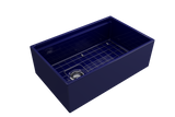 "BOCCHI Contempo 30"" Fireclay Farmhouse Apron Single Bowl Kitchen Sink, Sapphire Blue, 1344-010-0120 with Grid Angled View 