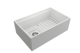 "BOCCHI Contempo 30"" Fireclay Farmhouse Apron Single Bowl Kitchen Sink, Matte White, 1344-002-0120 with Grid Angled View 