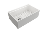 "BOCCHI Contempo 30"" Fireclay Farmhouse Apron Single Bowl Kitchen Sink, White, 1344-001-0120 with Grid Angled View 
