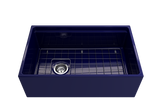 "BOCCHI Contempo 30"" Fireclay Farmhouse Apron Single Bowl Kitchen Sink, Sapphire Blue, 1344-010-0120 with Grid Straight View 