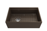 "BOCCHI Contempo 30"" Fireclay Farmhouse Apron Single Bowl Kitchen Sink, Matte Brown, 1344-025-0120 with Grid Straight View 