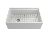 "BOCCHI Contempo 30"" Fireclay Farmhouse Apron Single Bowl Kitchen Sink, Matte White, 1344-002-0120 with Grid Straight View 