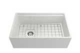 "BOCCHI Contempo 30"" Fireclay Farmhouse Apron Single Bowl Kitchen Sink, White, 1344-001-0120 with Grid Straight View 