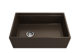 "BOCCHI Contempo 30"" Fireclay Farmhouse Apron Single Bowl Kitchen Sink, Matte Brown, 1344-025-0120 Straight View 