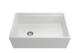 "BOCCHI Contempo 30"" Fireclay Farmhouse Apron Single Bowl Kitchen Sink, White, 1344-001-0120 Straight View 