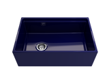 "BOCCHI Contempo 30"" Fireclay Farmhouse Apron Single Bowl Kitchen Sink, Sapphire Blue, 1344-010-0120 Straight View 