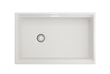 "BOCCHI Contempo 30"" Fireclay Farmhouse Apron Single Bowl Kitchen Sink, White, 1344-001-0120 Top View 