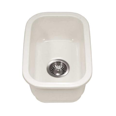 "Houzer 12"" Fireclay Undermount Bar Sink, Biscuit, Platus Series, PTB-1318 BQ"