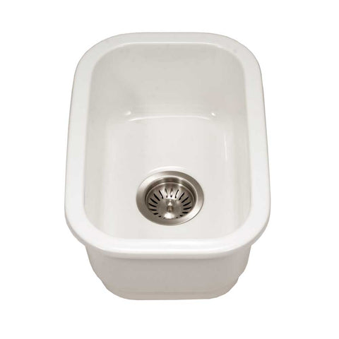 "Houzer 12"" Fireclay Undermount Bar Sink, White, Platus Series, PTB-1318 WH"