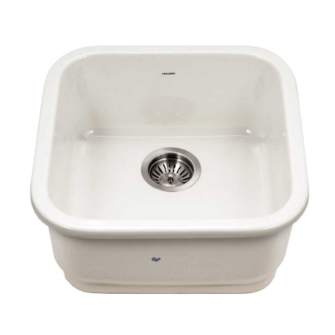 "Houzer 19"" Fireclay Undermount Bar Sink, Biscuit, Platus Series, PTB-1919 BQ"