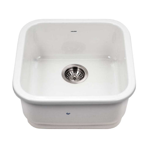 "Houzer 19"" Fireclay Undermount Bar Sink, White, Platus Series, PTB-1919 WH"
