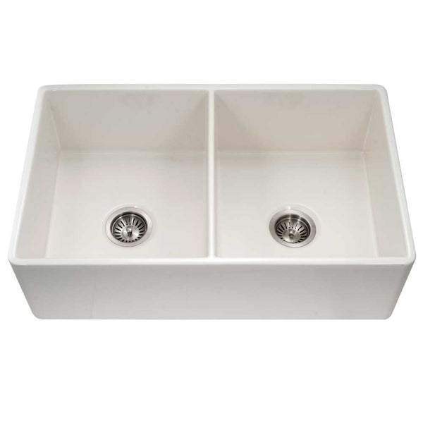 "Houzer 33"" Fireclay 50/50 Double Bowl Farmhouse Kitchen Sink, Biscuit, Platus Series, PTD-4400 BQ"