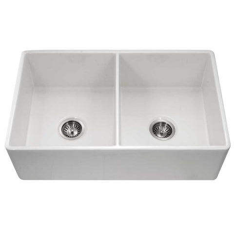 "Houzer 33"" Fireclay 50/50 Double Bowl Farmhouse Kitchen Sink, White, Platus Series, PTD-4400 WH"