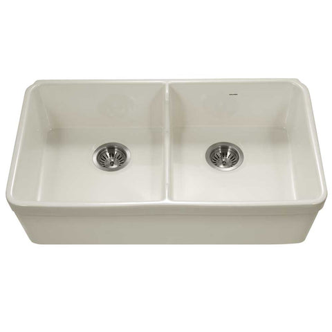 "Houzer 32"" Fireclay 50/50 Double Bowl Farmhouse Kitchen Sink, Biscuit, Platus Series, PTD-6400 BQ"