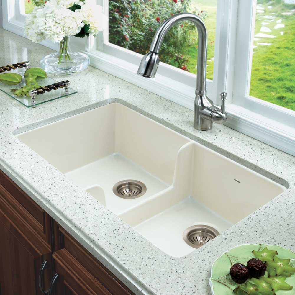 Houzer 32 Fireclay 50 Double Farmhouse Sink Biscuit Ptd 6400 Bq The Boutique