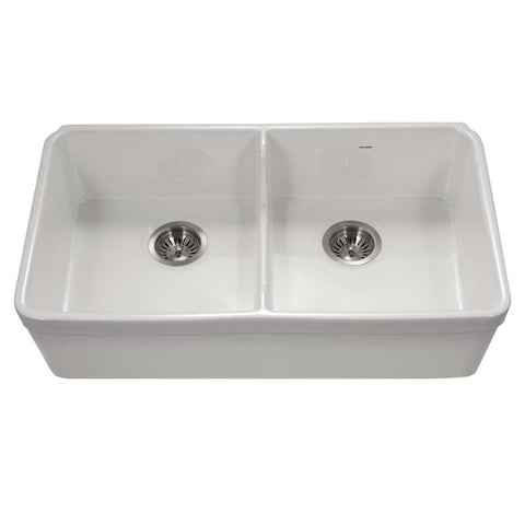"Houzer 32"" Fireclay 50/50 Double Bowl Farmhouse Kitchen Sink, White, Platus Series, PTD-6400 WH"