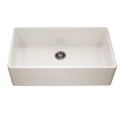 "Houzer 36"" Fireclay Single Bowl Farmhouse Kitchen Sink, Biscuit, Platus Series, PTG-3600 BQ"