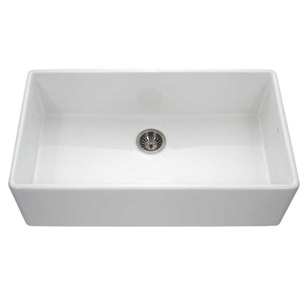 "Houzer 36"" Fireclay Single Bowl Farmhouse Kitchen Sink, White, Platus Series, PTG-3600 WH"