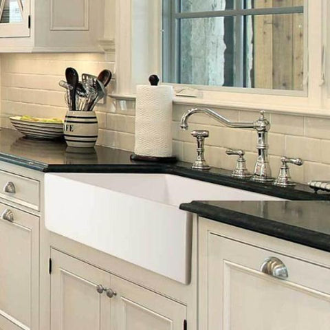 "Houzer 36"" Fireclay Single Bowl Farmhouse Kitchen Sink, White, Platus Series, PTG-3600 WH - The Sink Boutique"