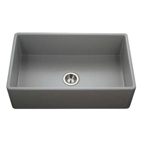 "Houzer 33"" Fireclay Single Bowl Farmhouse Kitchen Sink, Grey, Platus Series, PTG-4300 GR"