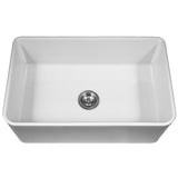 "Houzer 33"" Fireclay Farmhouse Apron Front Single Bowl Kitchen Sink, White, PTG-4300 WH - Top View 