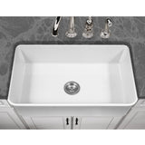 "Houzer 33"" Fireclay Farmhouse Apron Front Single Bowl Kitchen Sink, White, PTG-4300 WH - Top View Lifestyle 