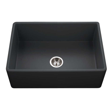 "Houzer 30"" Fireclay Single Bowl Farmhouse Kitchen Sink, Black, Platus Series, PTS-4100 BL"
