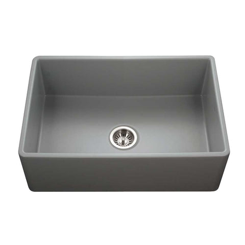 "Houzer 30"" Fireclay Single Bowl Farmhouse Kitchen Sink, Grey, Platus Series, PTS-4100 GR"