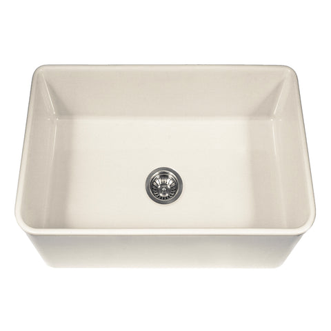 "Houzer 30"" Fireclay Farmhouse Apron Front Single Bowl Kitchen Sink, Biscuit, PTS-4100 BQ - The Sink Boutique"