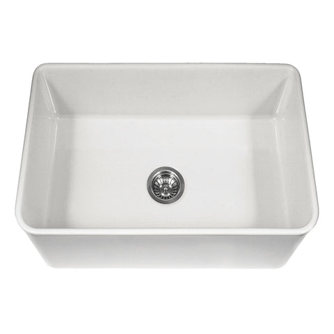 "Houzer 30"" Fireclay Farmhouse Apron Front Single Bowl Kitchen Sink, White, PTS-4100 WH - The Sink Boutique"