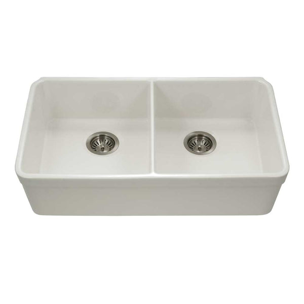 "Houzer 32"" Fireclay 50/50 Double Bowl Farmhouse Kitchen Sink, Biscuit, Platus Series, PTU-3200 BQ"