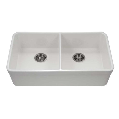 "Houzer 32"" Fireclay 50/50 Double Bowl Farmhouse Kitchen Sink, White, Platus Series, PTU-3200 WH"
