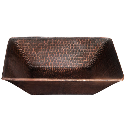 "Premier Copper Products 14"" Square Copper Bathroom Sink, Oil Rubbed Bronze, PVSQ14DB"