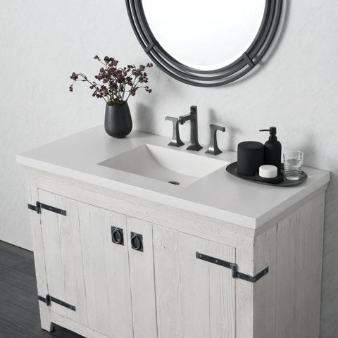 "Native Trails 48"" Palomar Vanity Top with Integral Sink in Pearl - 8"" Widespread Cutout, NSVNT48-P"