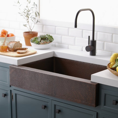 "Native Trails Paragon 33"" Copper Farmhouse Sink, Antique Copper, CPK291"