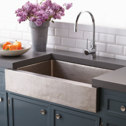 "Native Trails Paragon 33"" Nickel Farmhouse Sink, Brushed Nickel, CPK591"