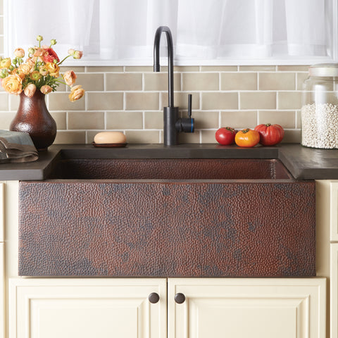 "Native Trails Pinnacle 33"" Copper Farmhouse Sink, Antique Copper, CPK292"
