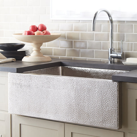 "Native Trails Pinnacle 33"" Nickel Farmhouse Sink, Brushed Nickel, CPK592"