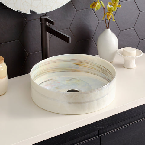 "Native Trails Murano 16"" Round Glass Bathroom Sink, Abalone, MG1616-AE"