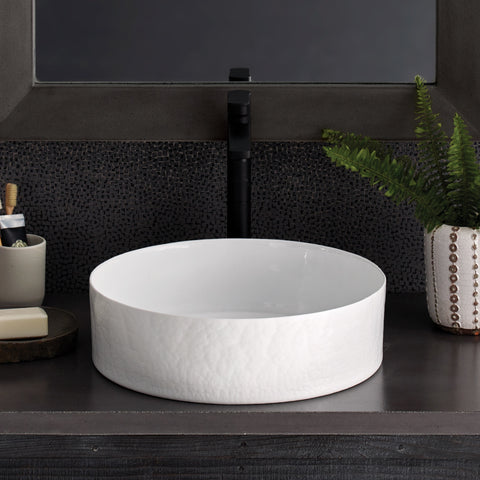 "Native Trails Murano 16"" Round Glass Bathroom Sink, Bianco, MG1616-BO"