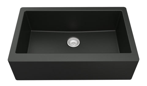 "Karran 34"" Quartz Farmhouse Sink, Black, QA-740-BL"