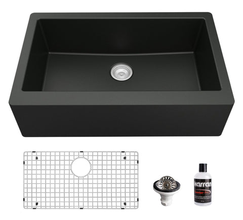 "Karran 34"" Quartz Composite Farmhouse Sink, Black, QA-740-BL-PK1"