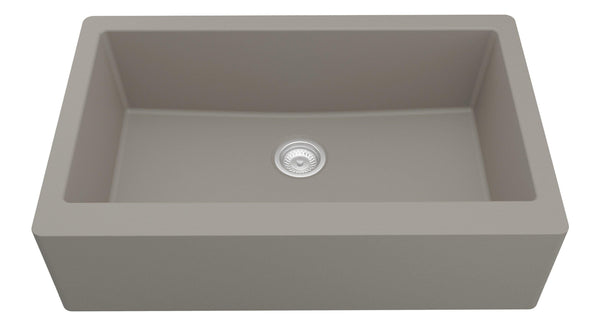 "Karran 34"" Quartz Farmhouse Sink, Concrete, QA-740-CN"