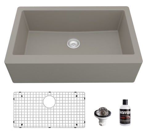 "Karran 34"" Quartz Composite Farmhouse Sink, Concrete, QA-740-CN-PK1"
