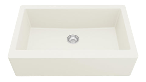 "Karran 34"" Quartz Farmhouse Sink, White, QA-740-WH"