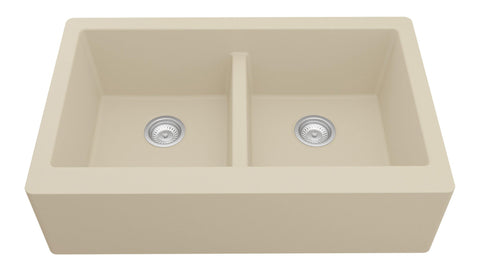 "Karran 34"" Quartz Farmhouse Sink, 50/50 Double Bowl, Bisque, QA-750-BI"