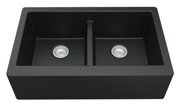 "Karran 34"" Quartz Farmhouse Sink, 50/50 Double Bowl, Black, QA-750-BL"