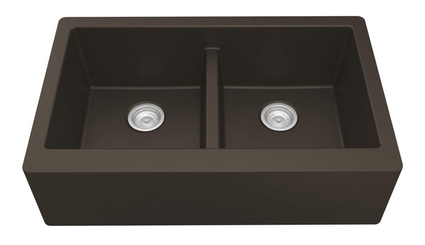 "Karran 34"" Quartz Farmhouse Sink, 50/50 Double Bowl, Brown, QA-750-BR"